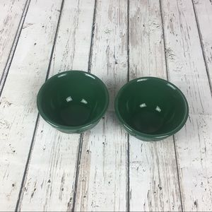 Set of 2 Longaberger Pottery Dessert Bowls Green